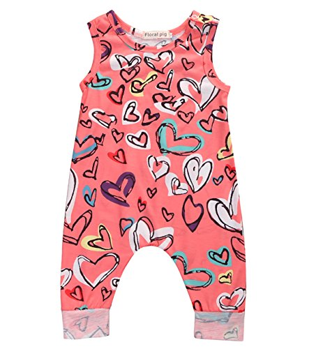 Greenafter Baby Girls Colorful Heart Printed Sleeveless Rompers Kids Overalls Sunsuits Outfits (12-18M, ()