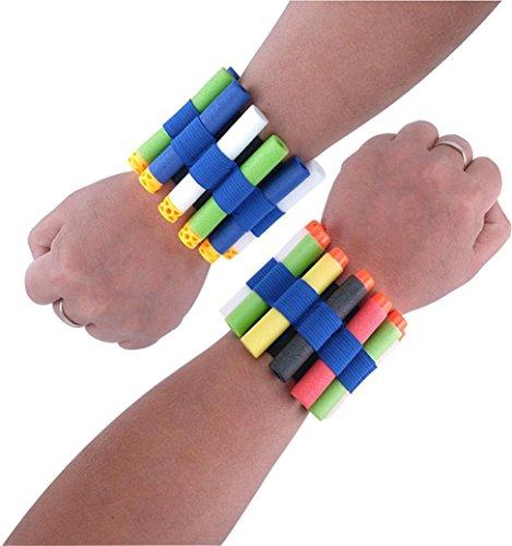 Gbell Vest Quick Reload Wristband Bracelet Clips Foam Bracelet for Nerf N-Strike Elite Series (Blue and Black)