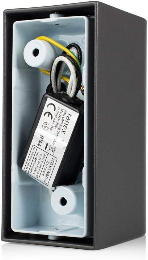 Ranex projecteur /à lED-dE applique murale en aluminium bastia anthr.-light up//down protection iP44 331–2 5000