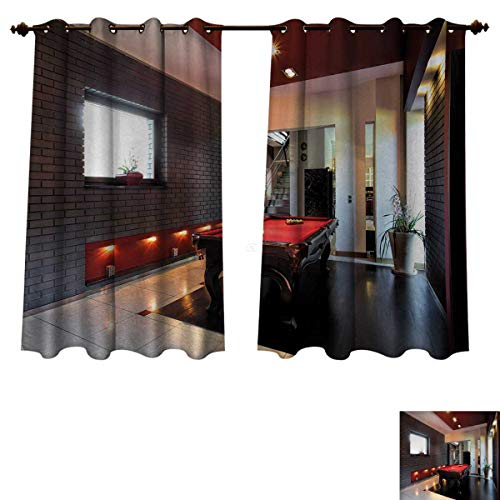 Anzhouqux Modern Blackout Thermal Backed Curtains for Living Room House with Snooker Table Hobby Pool Game Flat Furniture Leisure Time Print Customized Curtains Red Brown White W63 x L45 inch