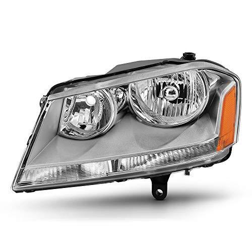 VIPMOTOZ Chrome Housing OE-Style Headlight Headlamp Assembly For 2008-2014 Dodge Avenger, Driver Side