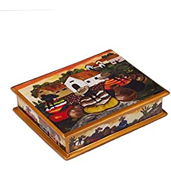 NOVICA Reverse Painted Glass and Wood Jewelry Box, Multicolor 'Friends Among The Flowers'