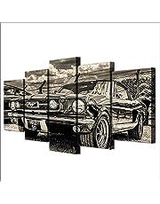 FSHH Canvas afdrukken canvas foto's XXL 5-delig 1965 Mustang sportwagen Hd gedrukt 5 stuks canvas muurkunst schilderij modulaire behang poster print moderne woonkamer wooncultuur