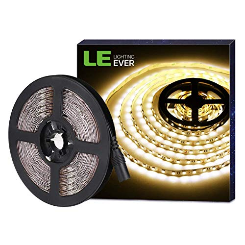 LE 16.4ft LED Strip Light, Super Bright, 300 LEDs SMD 5050, Non-Waterproof Tape Ribbon Light, Flexible Rope Light for Home, Kitchen, Under Cabinet, Bedroom, 12V Power Supply Not Included, Warm White