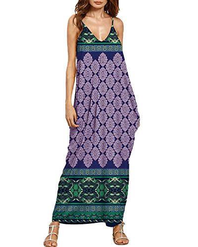 Auxo Women Boho Maxi Dress Floral Sundress Printed V Neck Strappy Long Dresses Cover up Blue Print 2XL (Tank Dress Strap Thin)