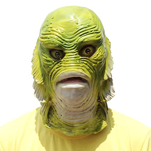 Scarey Mask (CREATOR Scarey Deluxe Novelty Halloween Costume Party Fish Strange Latex Head Mask)