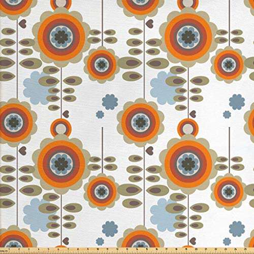 Ambesonne Flower Fabric by The Yard, Retro Style Floral Background with Abstract Colorful Blossoms Garden Plants Print, Decorative Fabric for Upholstery and Home Accents, 1 Yard, Orange White (Retro Fabric Upholstery)