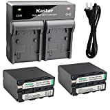 Kastar 2x Battery + Fast Dual Charger for Sony NP-F990 NP-F970 NP-F960 Battery, CCD-RV100 CCD-RV200 HVR-V1J HVR-V1U HVR-Z7U HXR-NX5U Camera, CN-160 CN126 CN-216 CN-304 YN 300 VL600 LED Video Light