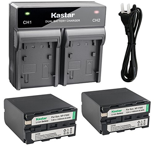 Kastar 2x Battery + Fast Dual Charger for Sony NP-F990 NP-F970 NP-F960 Battery, CCD-RV100 CCD-RV200 HVR-V1J HVR-V1U HVR-Z7U HXR-NX5U Camera, CN-160 CN126 CN-216 CN-304 YN 300 VL600 LED Video Light by Kastar