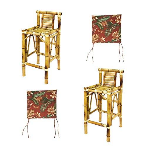 - RAM Gameroom Set Of Two Bamboo Tiki Bar Stools with Burgundy Cushions