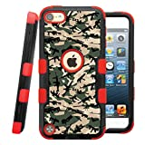 iPod touch 5th / 6th Case, CASECREATOR[TM] For Apple iPod touch 5th / 6th generation () -- NATURAL TUFF Hybrid Rubber Hard Snap-on Case Red Black-Weapons Camo Pattern