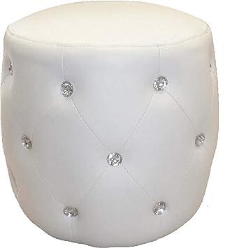 Pouf capitonné Diamant - 32x34 cm - Blanc: Amazon.fr: Cuisine & Maison