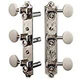 Golden Age Restoration Tuners for Slotted Peghead Guitar - Engraved Bell-end, Bright nickel