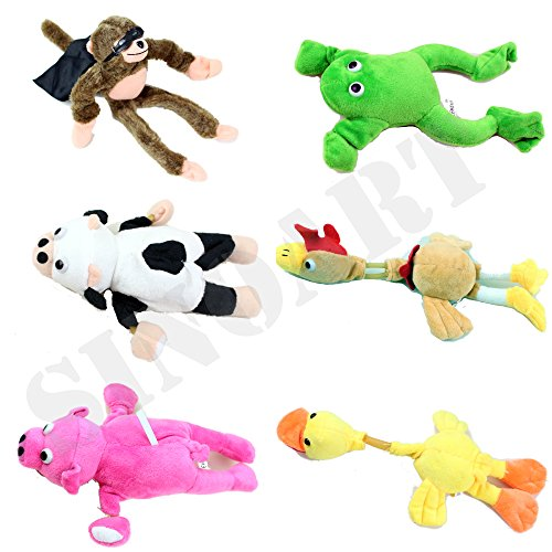 Slingshot Flying Monkey (SinoArt 6pcs Set Slingshot Flingshot Animal Toy for Kids Screaming Flying Sock Plush Animals Monkey Chicken Pig Cow Duck Frog)