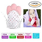 Sinhanker Teething Mitten, Self Soothing Silicone Teether Glove for 3M-18M Babies,Sensory Crinkle Chew Toy Mitt with Velcro Straps for Infants and Toddlers(Pink)