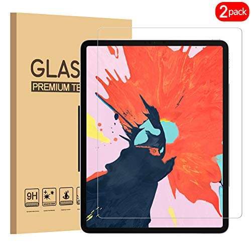 [2 Pack] iPad Pro 12.9 2018 Screen Protector, KATIAN HD Clear Protector [Anti-Scratch] [No-Bubble] [Case-Friendly], 9H Hardness Tempered Glass Screen Film for iPad Pro 12.9 2018