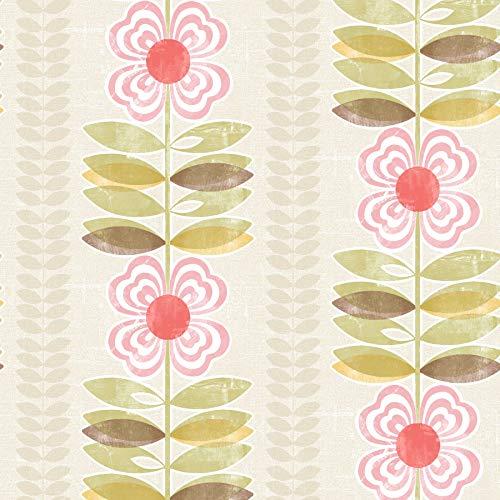 Beacon House 2535-20671 Flora Modern Floral Stripe Wallpaper, Pink