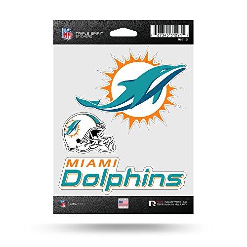 Rico Industries NFL Miami Dolphins Die Cut 3-Piece Triple Spirit Sticker Sheet