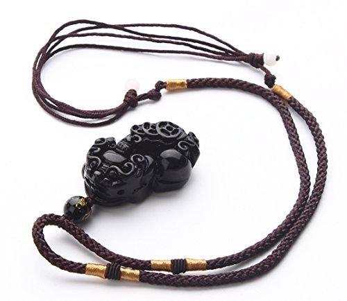 Obsidian Feng Shui Wealth Porsperity Pi Xiu / Pi Yao Engraving Pendant, Obsidian Pi Xiu Decorative Hanging -