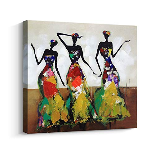 Abstract Series African American Dance Afro Women Black Art Oil Painting for Bedroom Wall Art, Hand-Painted Artwork Thick Canvas Home Wall Decoration, Gallery Wrapped Pine Wooden Frame Ready to Hang