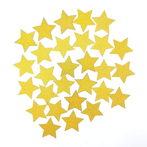 - 2 Inches Double Sided Gold Glitter Star Hand Punched Die Cuts Party Table Decor Confetti,Per Pack of 50