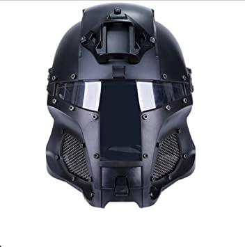 XIAHE Casco de Guerrero de Hierro Medieval Casco de Guardia Protector táctico al Aire Libre Negro