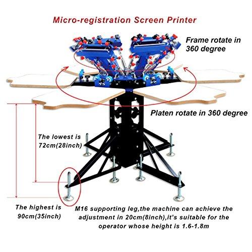 Double Rotary Manual 6-6 Colors Silk Screen Printing Press Machine Printer T-shirt Heavy Duty DIY by Screen Printing Equipment