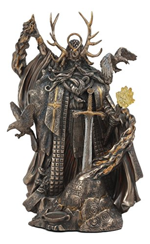 Ebros Mystic Arthurian Legend Wizard Merlin With Excalibur Sword Statue Magic Fire Prophet Powerful Sorcerer Of King Arthur Figurine