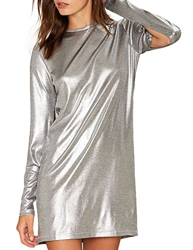 ASMAX HaoDuoYi Women Casual Soft Crew Neck Long Sleeve Silver Mini Dress