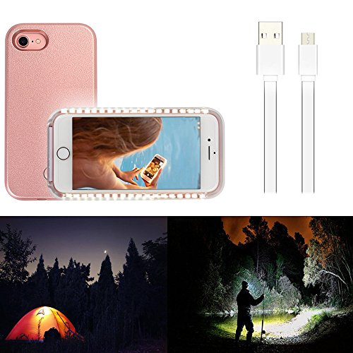 Wellerly iPhone 7 Case, iPhone 8 case, LED Illuminated Selfie Light Cell Phone Case Cover [Rechargeable] Light Up Luminous Selfie Flashlight Case for iPhone 7 / iPhone 8 4.7inch (Rose Gold) by Wellerly (Image #4)