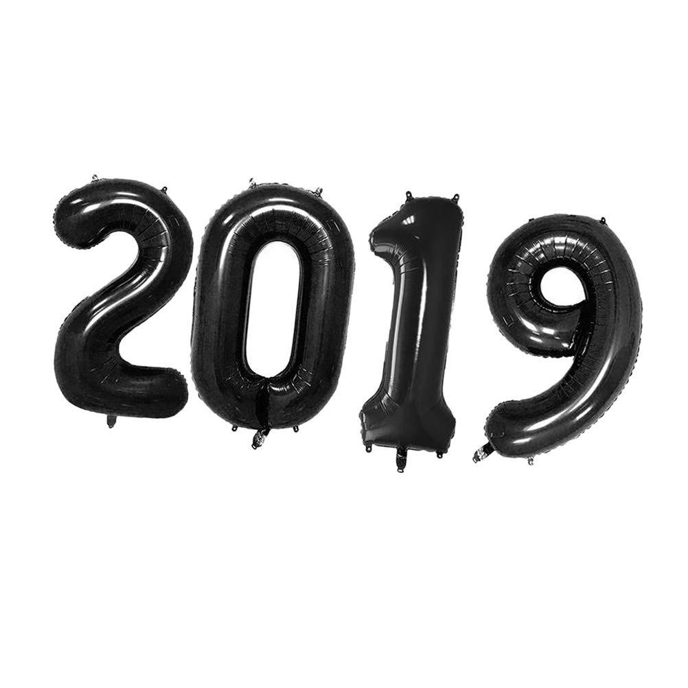 STOBOK 2019 Número Foil Globos Graduación Navidad Año Eva Mylar Globos Decoraciones 32 Pulgadas Negro: Amazon.es: Juguetes y juegos