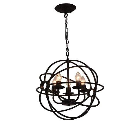 Yiyiby Lámpara de techo de hierro forjado, diseño de jaula ...