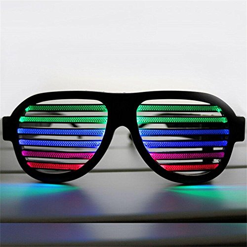 Ugetde® LED musical shades Sound & Music Light Up El Wire Party Glasses with USB Charger for Cloubbing, EDM, Rave, Disco, Dubstep Party