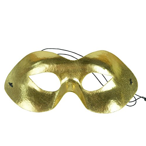 (Mardi Gras Party Masquerade Mask,Makeup Dance Halloween mask Ghost Half face mask Gold Prom)
