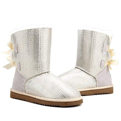 trituración Blanco Antideslizantes Zapatos Nieve Lana Interno para D5078 Invierno de Piel Shenduo Oveja Botas con de Mujer paSqP7w