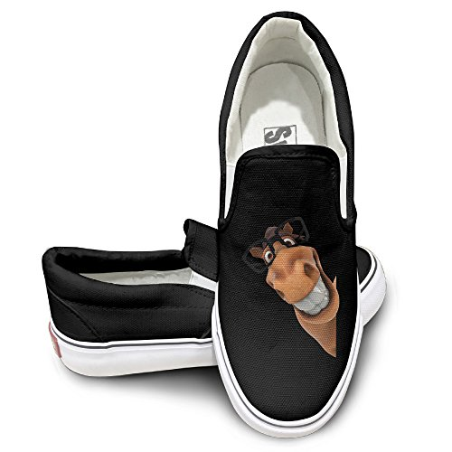 EWIED Unisex Classic Cute Donkey Slip-On Shoes Black Size37 ()