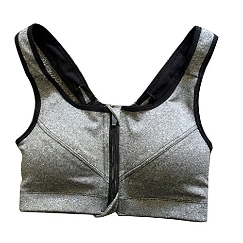 ROPALIA Women's High Impact Sports Bra Front Zipper Racerback Gym Fitness Yoga Grey Large