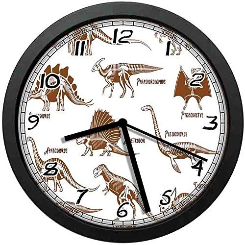 Group of Dinosaurs Ancient Animals Triassic Period Reptiles Graphic Image Wall Clock Nice for Gift or Office Home Unique Decorative Clock Wall Decor 12in with Frame (Dinosaurs Triassic Period)