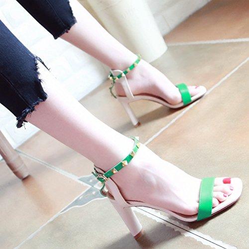 señoras Tobillo Remache Moda Nueva tacón de Sandalias Zapatos de YMFIE a Verano Correa de SP0qnqHw