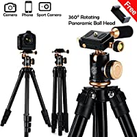 Compact Camera Tripod, Bhuato Lightweight Travel Tripod w/360° Rotating Panoramic Ball Head, 1/4 Quick Release Plate and Carry Bag for Canon Nikon Sony DSLR Camera Video and Smartphone