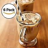 Amethya Tea Glasses Set, Latte & Coffee Glass Cups, 12-Ounce (Set of 6 Mugs)