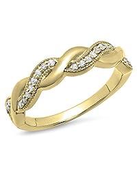 0.15 Carat (ctw) 14K Gold Round Diamond Ladies Bridal Anniversary Wedding Stackable Swirl Band