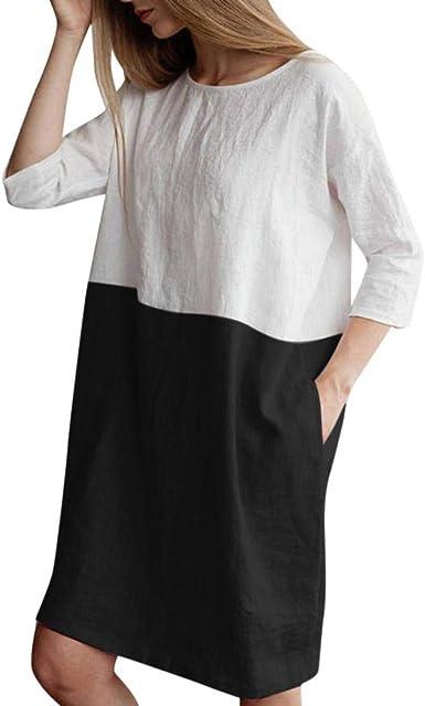Vestidos Mujer Casual, Modaworld ❤️ Vestido Suelto de Lino ...