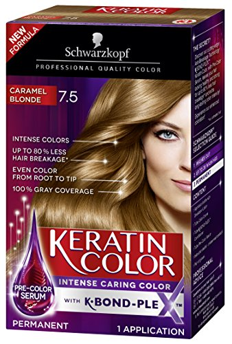 (Schwarzkopf Keratin Color Permanent Hair Color Cream, 7.5 Caramel Blonde(Packaging May Vary))