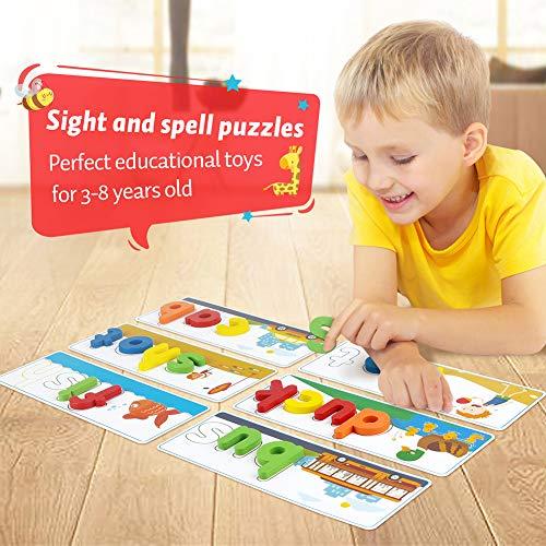 KMUYSL Matching Letter Game, Spelling Letter Words for Kids - See and Spell Learning Game Educational Learning Toys for Preschool Kindergarten Kids Boys Girls 3 4 5 Years Old