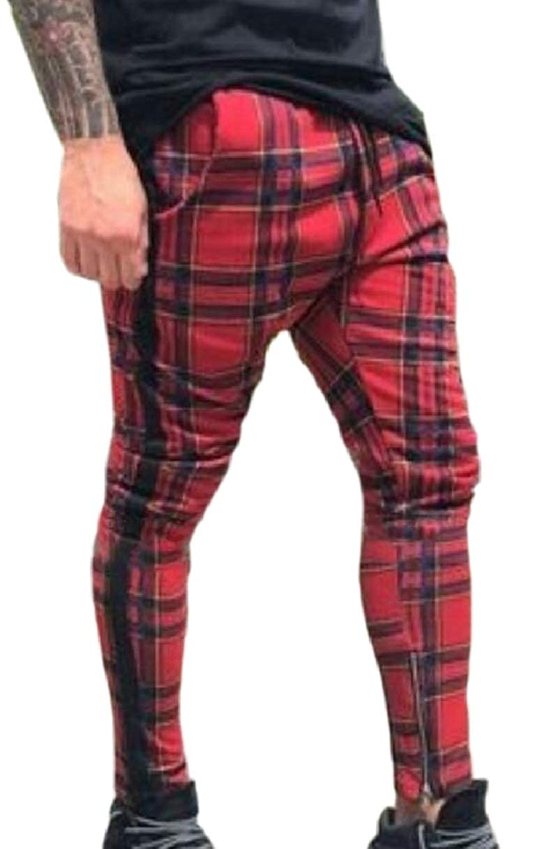ZXFHZS Men Western Plaid Checked Base Elastic Waist Zipper Rock Check Long Pants