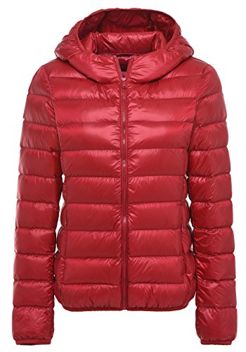 Santimon De Las Mujeres Calentar Invierno Encapuchado Abajo Chaqueta Packable Ligero Cuello Alto Abajo Capa 11 Colores Disponibles Rojo
