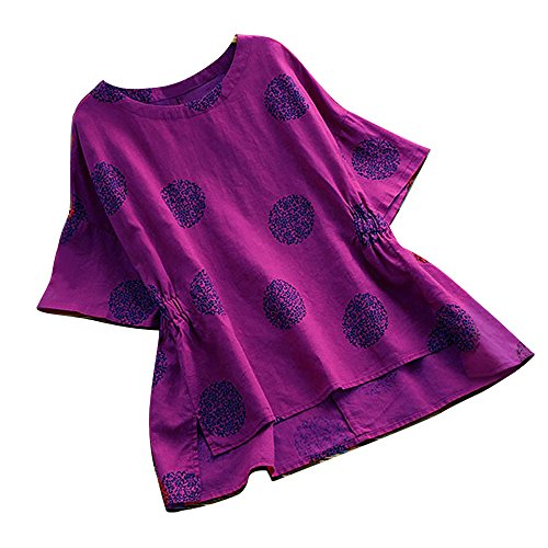 (Women Plus Size Dot Print Shirt Loose Cotton Short Sleeved Blouse Vintage Tops Purple)