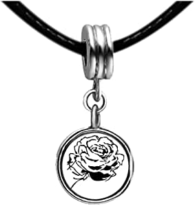 Chicforest Silver Plated Cute Rose Photo Red Zircon Crystal July Birthstone Flower dangle Charm Beads Fit Pandora Chamilia Biagi Charm Bracelet