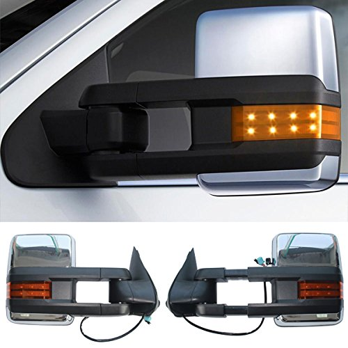 03-07 Silverado Towing Mirror Power Heat Signal Arrow Clearance Light Chrome 2PC (03 Chevy Power Towing Mirrors compare prices)